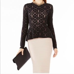 "BCBGMAXAZRIA Black ""Estelle"" Lace Peplum Top"